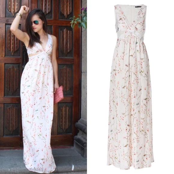 435817e750e Zara Dresses | Japanese Floral Crossover Cutout Bird Dress | Poshmark